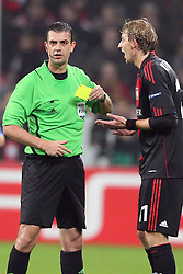 23.11.2011, BayArena, Leverkusen, Germany, UEFA CL, Gruppe E, Bayer 04 Leverkusen (GER) vs Chelsea FC (ENG), im Bild Viktor Kassai (Schiedsrichter) (L) mit Stefan Kiessling (Leverkusen #11) // during the football match of UEFA Champions league, group E, between Bayer Leverkusen (GER) and FC Chelsea (ENG) at BayArena, Leverkusen, Germany on 2011/11/23.EXPA Pictures © 2011, PhotoCredit: EXPA/ nph/ Mueller..***** ATTENTION - OUT OF GER, CRO *****