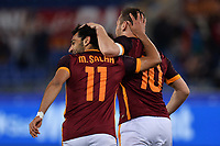 Esultanza Gol Mohamed Salah Roma Goal celebration with Francesco Totti <br /> Roma 11-04-2016 Stadio Olimpico Football Calcio Serie A 2015/2016 AS Roma - Bologna Foto Andrea Staccioli / Insidefoto