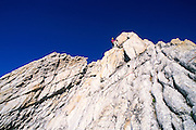 Climber on the West Ridge of Mt. Conness, Tuolumne Meadows area, Yosemite National Park, California