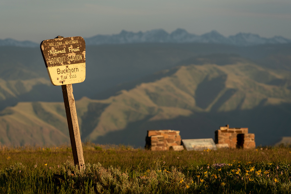 Buckhorn Lookout sign, Hells Canyon National Recreation Area, Oregon.