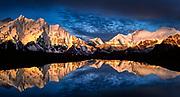 L to R: Makalu, Chomolonzo, Pethangtse ( centre) , Lhotse, South Col, Everest, camp reflection in small lake, Kharta valley, Tibet