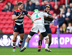 Jamal Ford-Robinson of Bristol Rugby is tackled by Masalosalo Tutaia of Pau - Rogan Thomson/JMP - 11/12/2016 - RUGBY UNION - Ashton Gate Stadium - Bristol, England - Bristol Rugby v Pau - European Rugby Challenge Cup.
