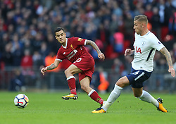 22 October 2017 Wembley: Premier League Football: Tottenham Hotspur v Liverpool: a pass by Philippe Couthinho is intercepted by Alderweireld.<br /> Photo: Mark Leech