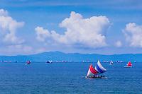 Nusa Tenggara, Lombok, Senggigi. Traditional sail vessels on west Lombok.