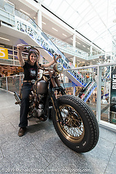 Sandra Fröhlich of McSands Motor Shop in Balterswil (Switzerland) with her Galvano 1948 Harley-Davidson Knucklehead at the Swiss-Moto Customizing and Tuning Show. Zurich, Switzerland. Sunday, February 24, 2019. Photography ©2019 Michael Lichter.