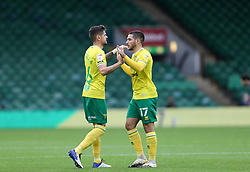 Emi Buendia of Norwich City and Xavi Quintilla of Norwich City before kick off - Mandatory by-line: Arron Gent/JMP - 24/10/2020 - FOOTBALL - Carrow Road - Norwich, England - Norwich City v Wycombe Wanderers - Sky Bet Championship