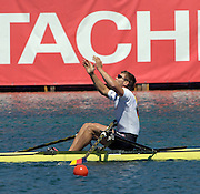 2005 FISA Rowing World Cup Munich,GERMANY. 19.06.2005;.GER M1 Marcel Hacker raises his arms in triumph, after winning the final the shy after winning.Photo  Peter Spurrier. .email images@intersport-images...[Mandatory Credit Peter Spurrier/ Intersport Images] Rowing Course, Olympic Regatta Rowing Course, Munich, GERMANY