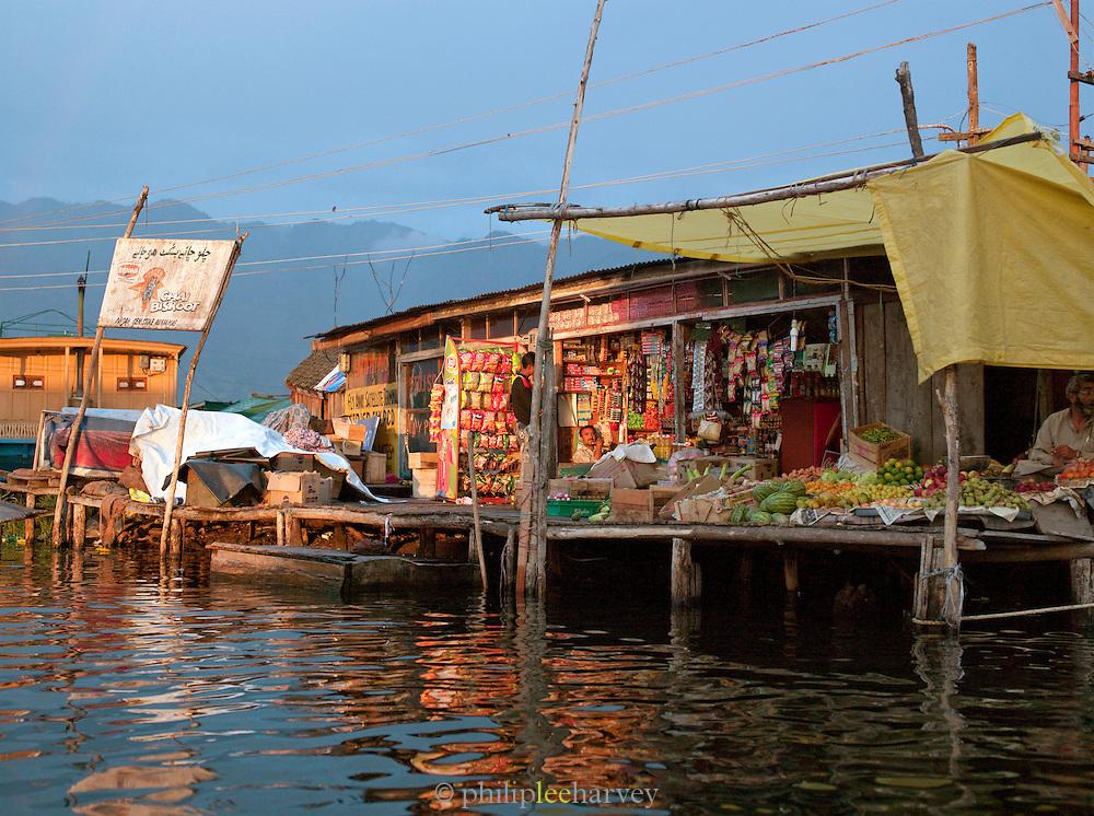Local store built on Lake Dal, Kashmir, India