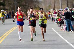 2013 Boston Marathon: Jason Hartmann, USA, Robin Watson, Canada, Fernando Cabada, USA, lead race in early stages