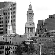 A view of the Boston Skyline with the Custom House Tower in the center and Old North Church to the left.
