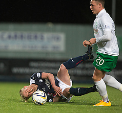 Falkirk's Craig Sibbald and Hibernian's Scott Allan.<br /> Falkirk 1 v 0 Hibernian, Scottish Championship game played 6/12/2014 at The Falkirk Stadium .