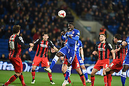 Cardiff's Bruno Ecuele-Manga  scores his teams 1st goal with a header to make it 1-1.  Skybet football league championship, Cardiff city v AFC Bournemouth at the Cardiff city stadium in Cardiff, South Wales on Tuesday 17th March 2015.<br /> pic by Andrew Orchard, Andrew Orchard sports photography.
