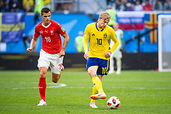 July 3, 2018 - St Petersburg, Russia - 180703 Granit Xhaka of Switzerland and Emil Forsberg of Sweden during the FIFA World Cup round of 16 match between Sweden and Switzerland on July 3, 2018 in ST Petersburg..Photo: Petter Arvidson / BILDBYRÃ…N / kod PA / 87748 (Credit Image: © Petter Arvidson/Bildbyran via ZUMA Press)