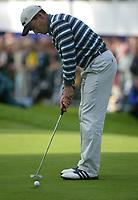 Photograph: Scott Heavey<br />Volvo PGA Championship At Wentworth Club. 25/05/2003.<br />Ignacio Garrido strokes the winning putt.