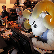Rameses, the North Carolina Tarheels mascot, has some fun in the control room at ESPN in Charlotte. ©Travis Bell Photography