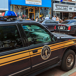 Annapolis, MD, USA - May 20, 2012: A police car parked in the business district in Annapolis Maryland.