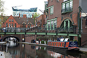 Gas Street Basin in Birmingham, United Kingdom. Gas Street Basin is a canal basin in the centre of Birmingham, where the Worcester and Birmingham Canal meets the BCN Main Line. It is located on Gas Street, between the Mailbox and Brindleyplace canal-side developments.