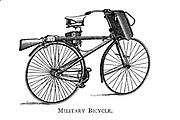 Military bicycle [a bicycle specially adapted to the needs of armed forces] From Wheels and Wheeling; An indispensable handbook for cyclists, with over two hundred illustrations by Porter, Luther Henry. Published in Boston in 1892