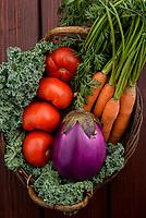 Farm fresh summer vegetables including tomato, carrot, eggplant, green beans, kale, and corn.