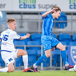 BRISBANE, AUSTRALIA - SEPTEMBER 20: Matthew Schmidt of Gold Coast City is fouled by Jesse Daley of South Melbourne during the Westfield FFA Cup Quarter Final match between Gold Coast City and South Melbourne on September 20, 2017 in Brisbane, Australia. (Photo by Gold Coast City FC / Patrick Kearney)