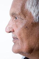 Portrait of an older man in profile,