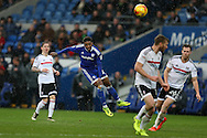 Kadeem Harris of Cardiff city watches as his long range shot at goal goes just wide.   EFL Skybet championship match, Cardiff city v Fulham at the Cardiff city stadium in Cardiff, South Wales on Saturday 25th February 2017.<br /> pic by Andrew Orchard, Andrew Orchard sports photography.
