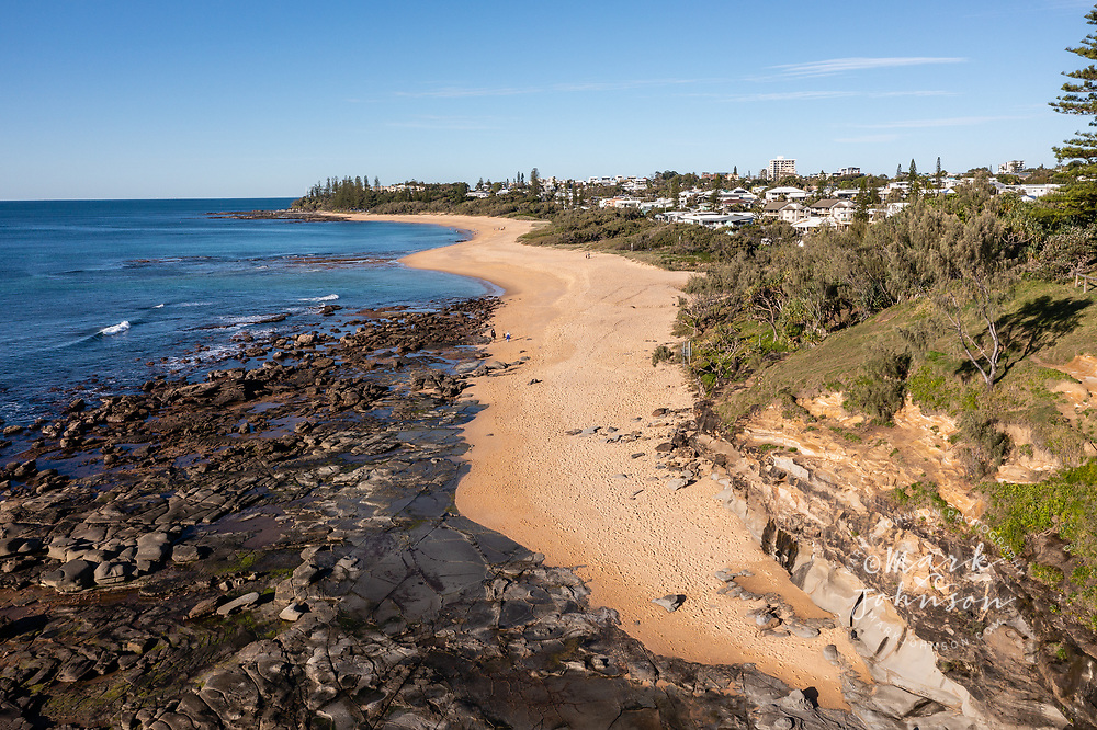 Aerial view of beautiful Shelly Beach & Moffat Head without many people, Caloundra, Sunshine Coast, Queensland, Australia