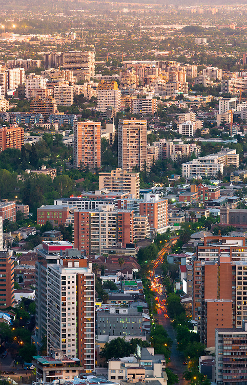 Elevated view of Apartment buildings at Providencia district in Santiago de Chile.