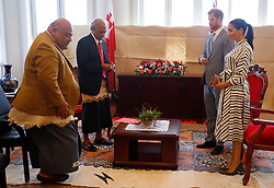 The Duke and Duchess of Sussex meeting Tongan prime minister Akilisi Pohiva on the second day of the royal couple's visit to Tonga.