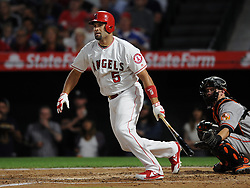 May 3, 2018 - Anaheim, CA, U.S. - ANAHEIM, CA - MAY 03: Los Angeles Angels of Anaheim first baseman Albert Pujols (5) hits a double for his 2999th career hit in the second inning of a game against the Baltimore Orioles played on May 3, 2018 at Angel Stadium of Anaheim in Anaheim, CA. (Photo by John Cordes/Icon Sportswire) (Credit Image: © John Cordes/Icon SMI via ZUMA Press)