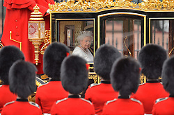 Embargoed to 0001 Wednesday December 28 File photo dated 18/05/16 of Queen Elizabeth II leaving Buckingham Palace, London, ahead of the State Opening of Parliament.