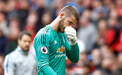 File photo dated 28-04-2019 of Manchester United goalkeeper David de Gea walks off dejected at half time during the Premier League match at Old Trafford, Manchester.