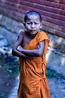 Defiance of Youth: A solitary young novice monk stands, arms crossed, in a defiant stance, in a Buddhist temple complex near to Pai Thailand.