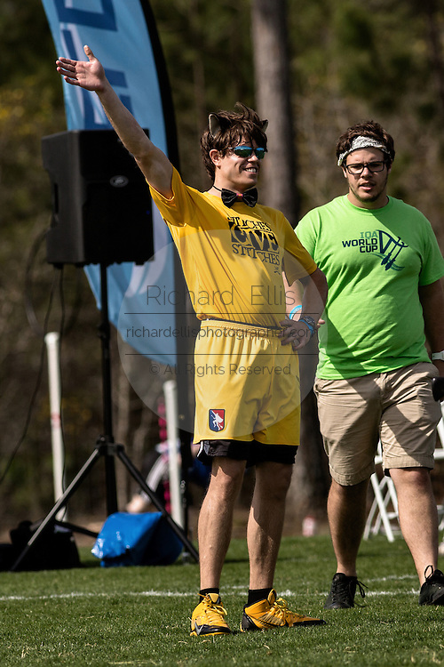 The Snitch waves to the crowd during the Quidditch World Cup on April 5, 2014 in Myrtle Beach, South Carolina. The sport, created from the Harry Potter novels is a co-ed contact sport with elements from rugby, basketball, and dodgeball. A quidditch team is made up of seven athletes who play with broomsticks between their legs at all times.