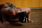 Sumo wrestlers training, Dewanoumi sumo stable, Tokyo, Japan, September 8, 2010.