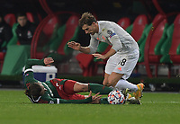 MOSCOW, RUSSIA - OCTOBER 27: Grzegorz Krychowiak of Lokomotiv Moskva tackles Leon Goretzka of FC Bayern Muenchen during the UEFA Champions League Group A stage match between Lokomotiv Moskva and FC Bayern Muenchen at RZD Arena on October 27, 2020 in Moscow, Russia. (Photo by MB Media)