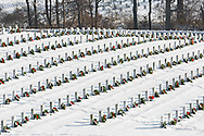 65095-03010 Wreaths on graves in winter Jefferson Barracks National Cemetery St. Louis,  MO