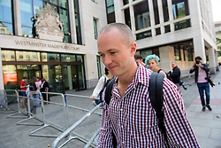 © London News Pictures. 14/09/2016. London, UK. SAM LUND-HARKET leaves Westminster Magistrates Court in London where he was one of nine Black Lives Matter campaigners who pleaded guilty to charges relating to a protest at London City Airport on September 6, in which the protest group locked themselves together on the airport's runway.  Photo credit: Ben Cawthra/LNP