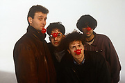 Members of the Mary Whitehouse Experience during the filming of Comic Reliefs 1991 video Stonk, filmed on 24th January 1991 in London, England. L-R: Hugh Dennis, David Baddiel, Steve Punt and Rob Newman.