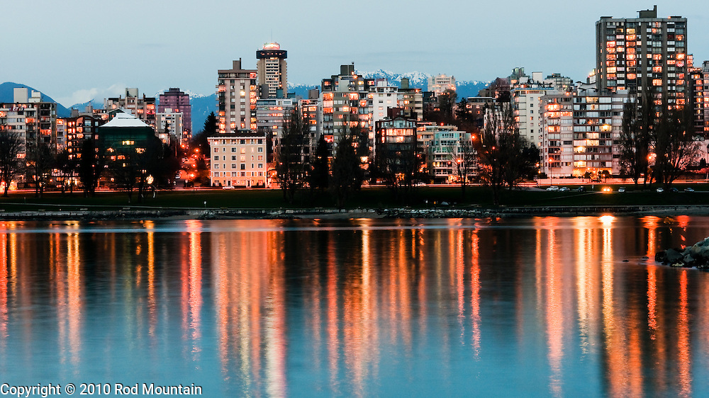 Cityscape at dusk as seen from Vanier Park, Vancouver, British Columbia 2010