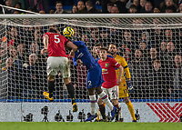 Football - 2019 / 2020 Premier League - Chelsea vs. Manchester United<br /> <br /> Harry Maguire (Manchester United) powers home his header as header as he increases his teams lead at Stamford Bridge <br /> <br /> COLORSPORT/DANIEL BEARHAM