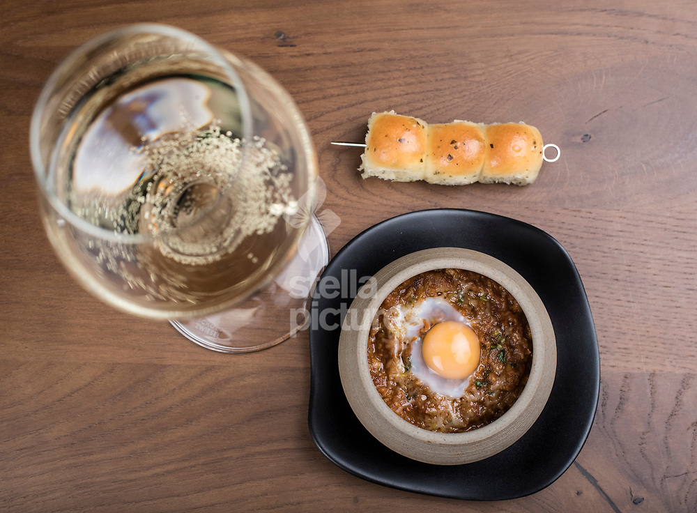 Soy keema, quail egg, lime leaf butter pao at Indian Accent restaurant, Mayfair.<br /> Picture by Daniel Hambury/Stella Pictures Ltd 07813022858<br /> 05/01/2018
