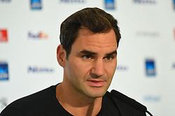 November 10, 2017 - London, United Kingdom - Roger Federer of Switzerland speaks to the media prior to the Nitto ATP World Tour Finals at O2 Arena, London on November 10, 2017. (Credit Image: © Alberto Pezzali/NurPhoto via ZUMA Press)