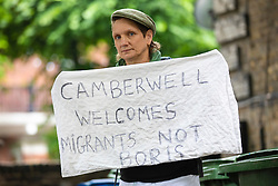 © Licensed to London News Pictures. 23/06/2019. London, UK. Local residents protest outside the London home where Conservative Party leadership hopeful Boris Johnson MP has been staying. Photo credit: Rob Pinney/LNP
