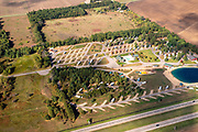 Image from a flight over Oasis Campground, Hancock, Wisconsin on a beautiful autumn day.