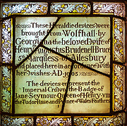 Tudor 16th century stained glass window Great Bedwyn church, Wiltshire, England, UK originally from Wolf Hall