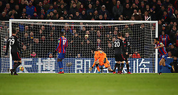 Crystal Palace's Andros Townsend (right) celebrates scoring his side's first goal of the game during the Premier League match at Selhurst Park, London.