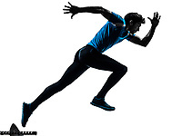 one  man running sprinting jogging in silhouette studio isolated on white background