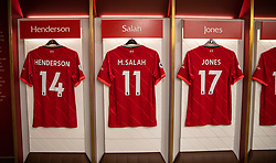 LIVERPOOL, ENGLAND - Thursday, August 5, 2021: Liverpool players' shirts hanging in the dressing room at Anfield on display as part of the official stadium tour. (Pic by David Rawcliffe/Propaganda)
