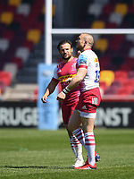 Rugby Union - 2020 / 2021 Gallagher Premiership - Round 17 - London Irish vs Harlequins - Brentford Community Stadium<br /> <br /> Harlequins' Danny Care leads the team out on his 300th appearance followed by Mike Brown on his 350th.<br /> <br /> COLORSPORT